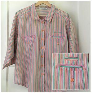 Vintage Gitano Boxy Striped Button Down Blouse